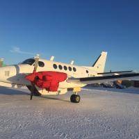 White Buffalo Airways jet plane on snow in Yellowknife Northwest Territories.
