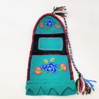 A beaded bag with multi-colored yarn at Caribou Creations in Lutsel K'e, NWT.