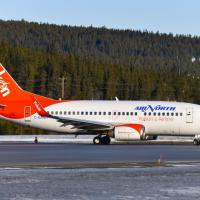 Air North - Yukon's Airline B737 jet plane on the ground.