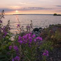 Great slave lake at sunset in the Northwest Territories