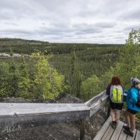 Hikers on  Cameron Falls Trail on the Ingraham Trail in the NWT