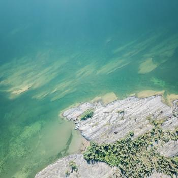 Aerial view of the East Arm of the Great Slave lake in the NWT