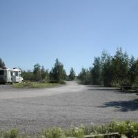Campers at Happy Valley Territorial park in the Northwest Territories