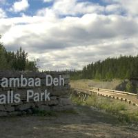 The sign for Sambaa Deh Territorial Park in the NWT