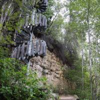 A spiral staircase on the trail to Louise falls in the Northwest territories