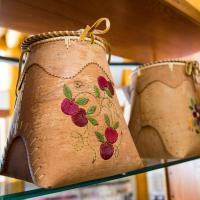 Birch baskets at the Acho Dene Native Crafts store in the NWT
