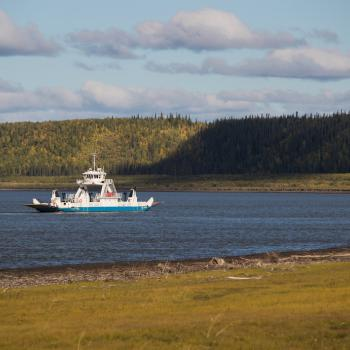 a ferry on the Mackenzie river in the Northwest Territories