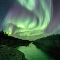 The Northern lights aurora dances in the sky near Hay River in the NWT