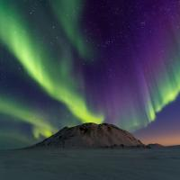 Aurora northern lights dance above a pingo in the NWT