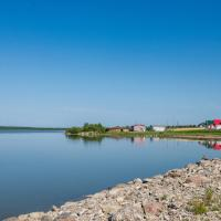 the shoreline of great Slave Lake in Fort Resolution in the Northwest Territories