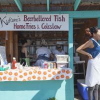 A vendor at Fisherman's Wharf, Hay River NWT