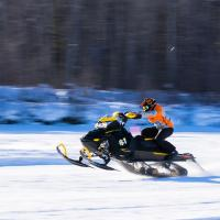 Some races a skidoo in Fort Simpson in the Northwest Territories
