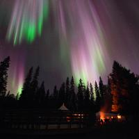 The northern lights aurora dance in the sky at the National dark sky preserve near Fort Smith NWT