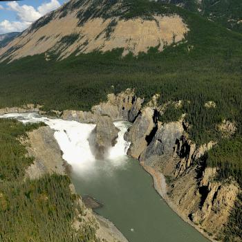 Spectacular aerial view of Virginia Falls in the Nahanni National Park with Simpson Air in the NWT.
