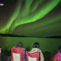 Four Northern Star Tourism Services tourists seated looking at the green Aurora Borealis in Yellowknife, NWT.
