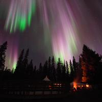 Beautiful purple and green Aurora dancing in the sky above Pine Lake in Fort Smith NWT.