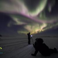 Beautiful night with purple and green aurora with two people aurora hunting in winter in Yellowknfie in teh Northwest Territories.