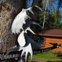 Nahanni Mountain Lodge outdoor photo with antlers on display on a sunny day in the Northwest Territories.