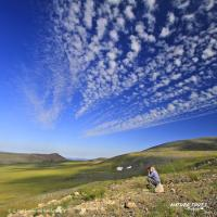 Nature Tours of Yukon Dempster Highway Guided Self-Drive view of blue skies with spots of clouds and green pasture.