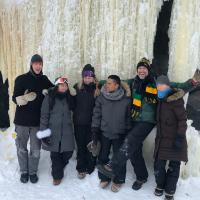 A group pf people on the ice cave tour by Sundog Adventures in Yellowknife, NWT.