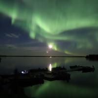 The green aurora dancing in the sky at Lac La Martre in the Northwest Territories.