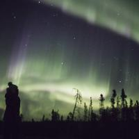 Sean Norman Aurora Chaser tourist gazing at the dark sky with the swirling aurora northern lights in Yellowknife, Northwest Territories, Canada.