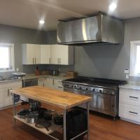 Brightly lit kitchen in Namushka Lodge in the Northwest Territories.