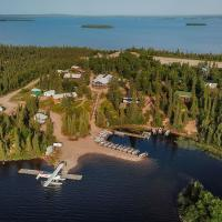 Overhead view of Kasba lake lodge and surrounding water in the Northwest Territories.