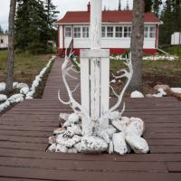 Trophy Lodge Great Slave Lake deer antlers and rocks painted white in the NWT.