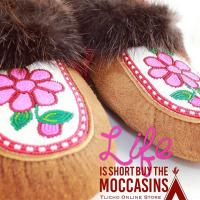 Tlicho Online Store: Life is short buy moccasins with flower beading and fur trim made with Indigenous craftsmanship in the Northwest Territories.