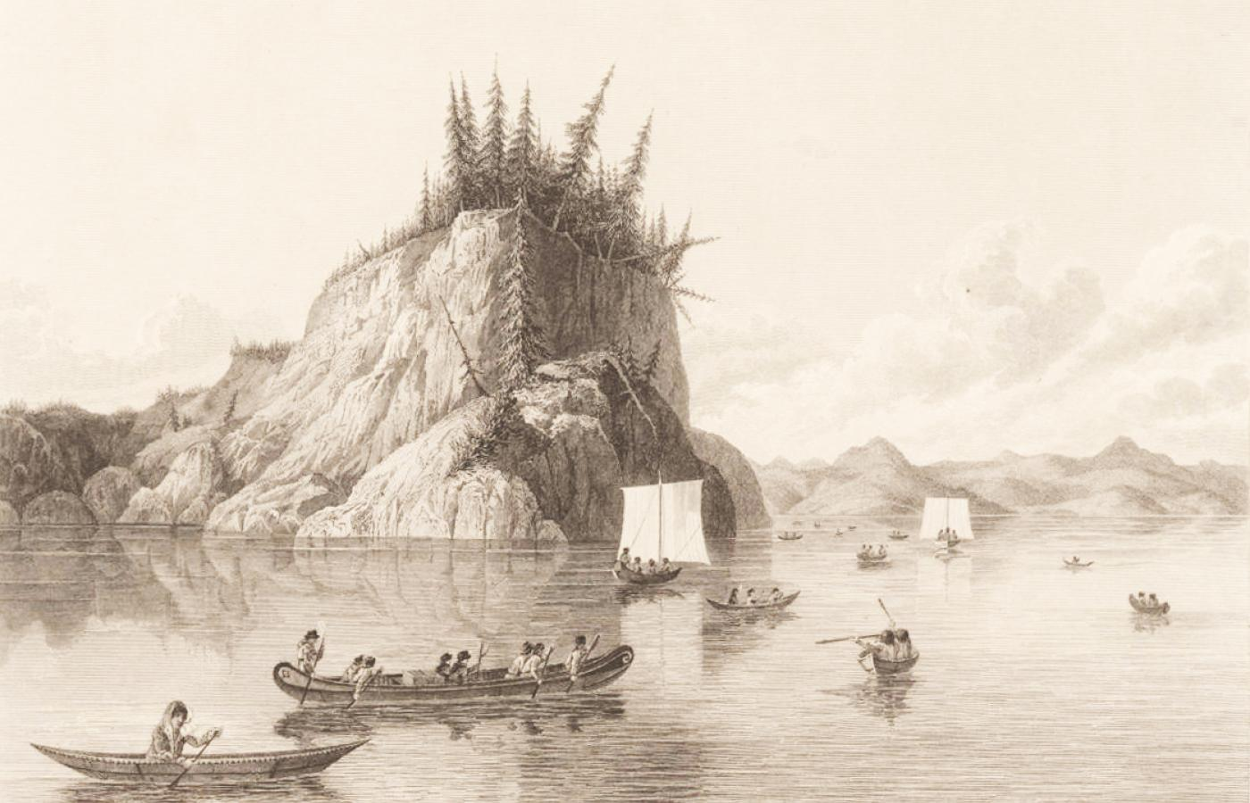 Historical image of explorers in ships along Prosperous Lake in the NWT
