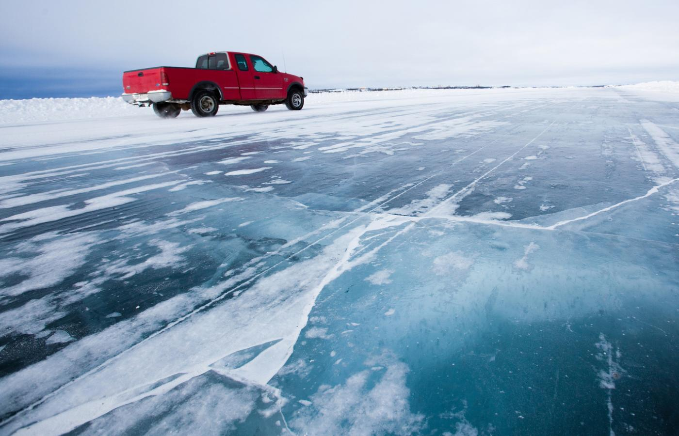 The Mackenzie River becomes an ice road in the winter