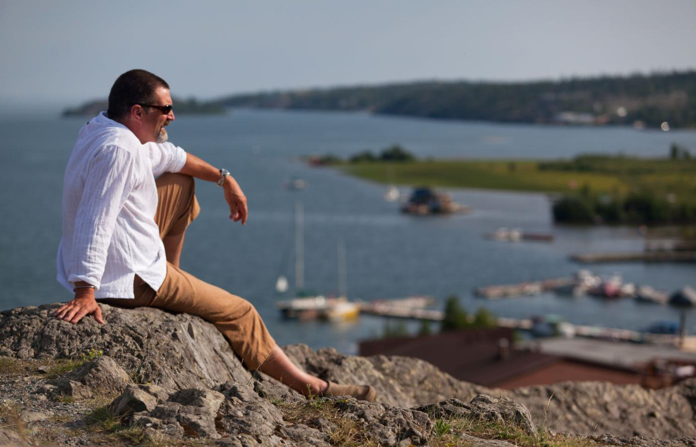 Great views of Great Slave Lake's Yellowknife Bay from Pilot's Monument.