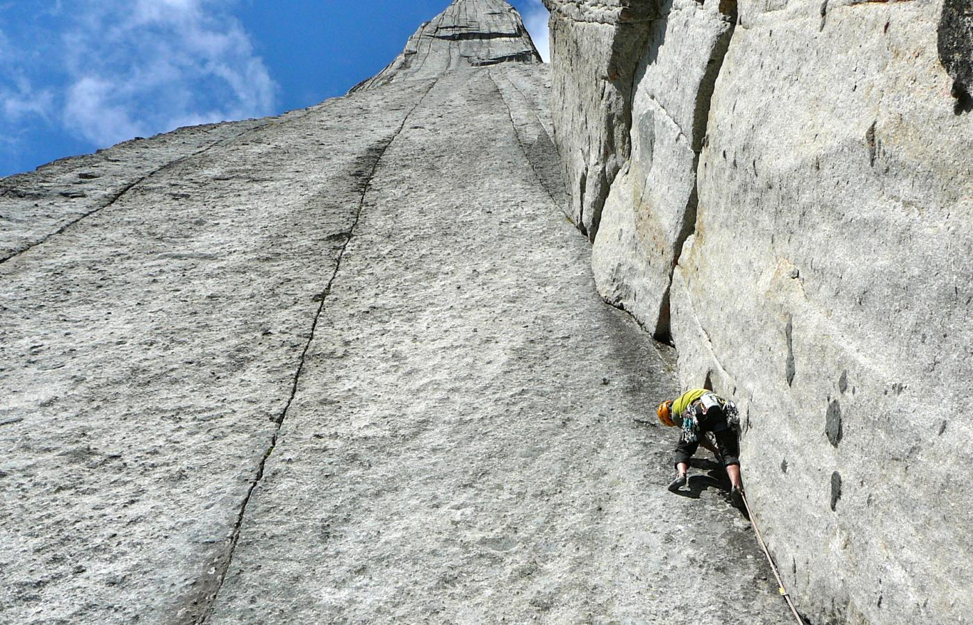 A sheer-sided cliff traversed by only the most skilled mountain climbers