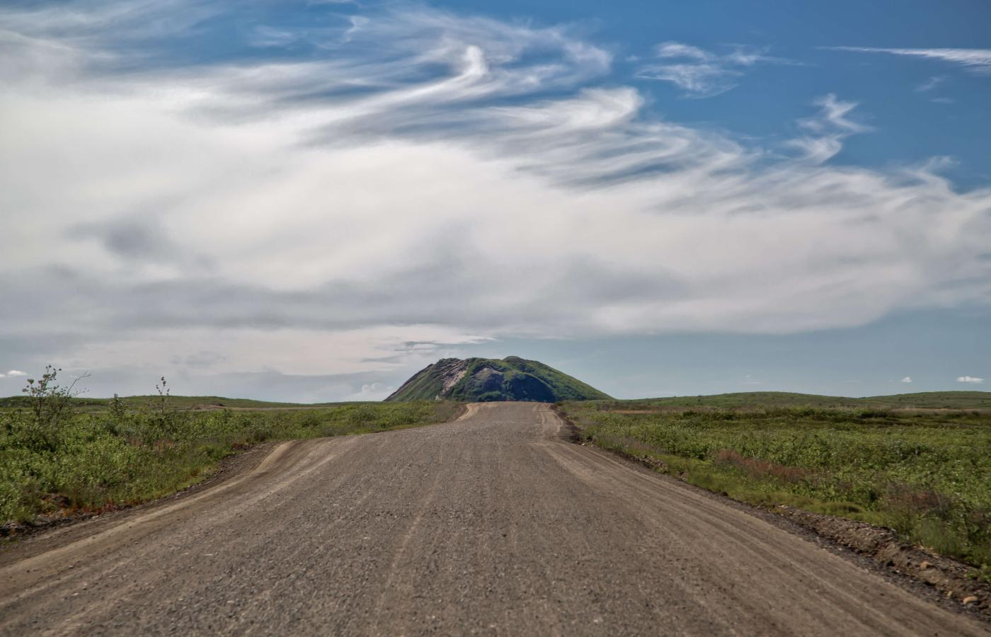 A pingo on the Inuvik-Tuk Highway