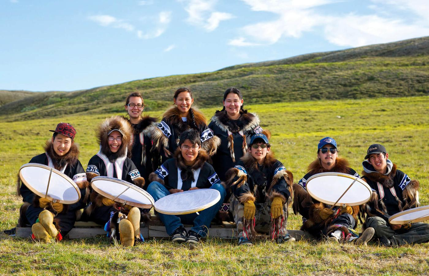 Inuvialuit drummers and dancers