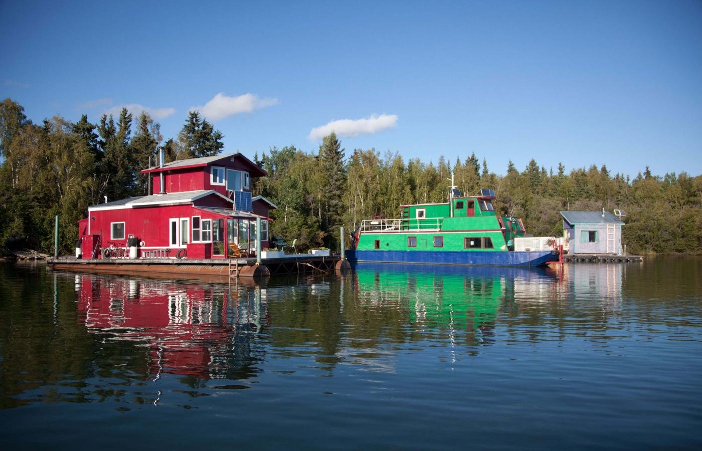 Houseboats floating in 'Back Bay', Yellowknife, NWT