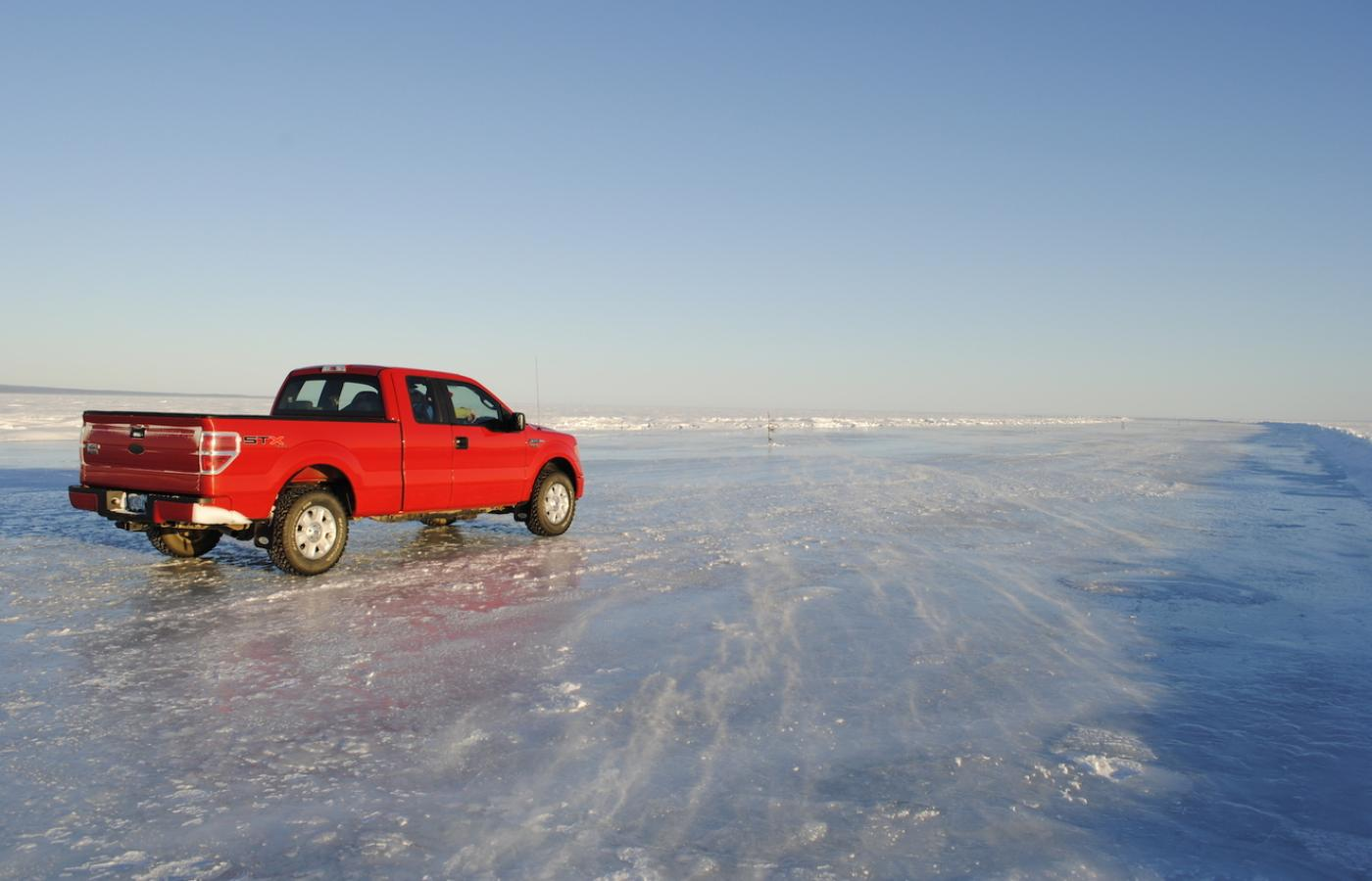 Great Slave Lake becomes an ice road in the winter