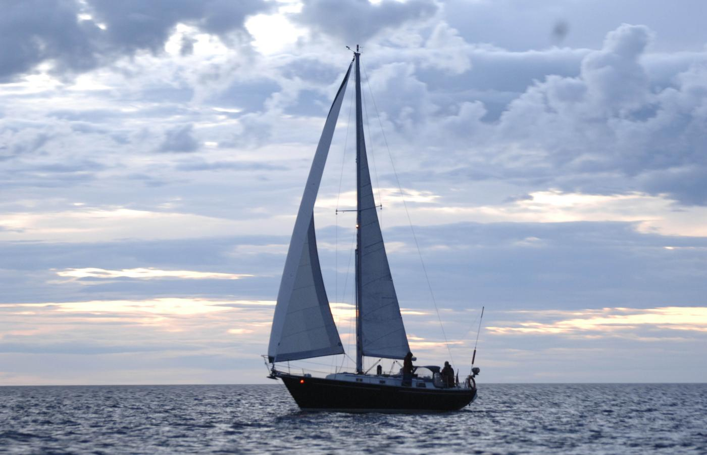 Sailing on Great Slave Lake, NWT, the deepest lake in Canada.