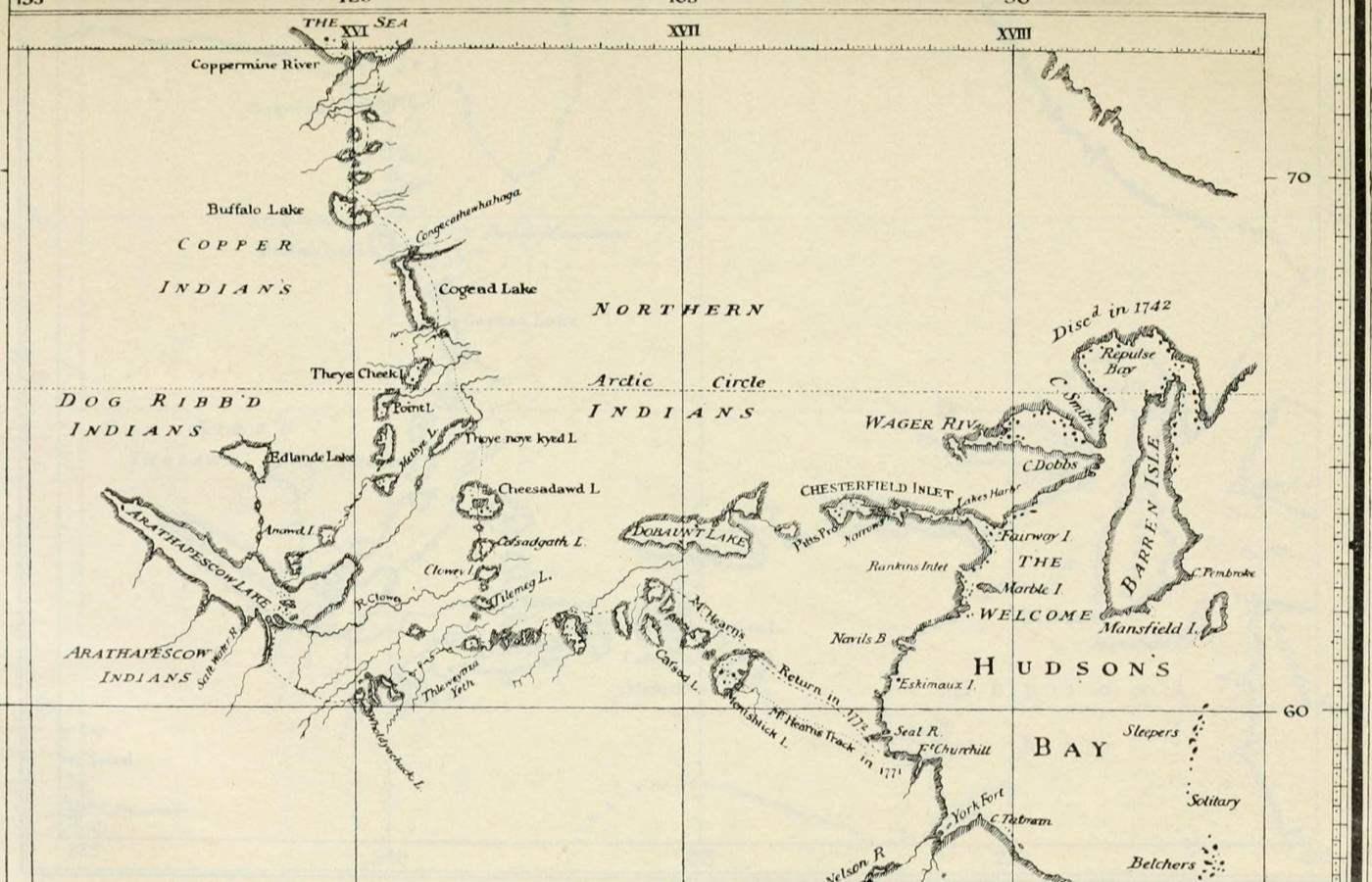 Map showing a journey from Hudson's Bay to the Arctic Ocean
