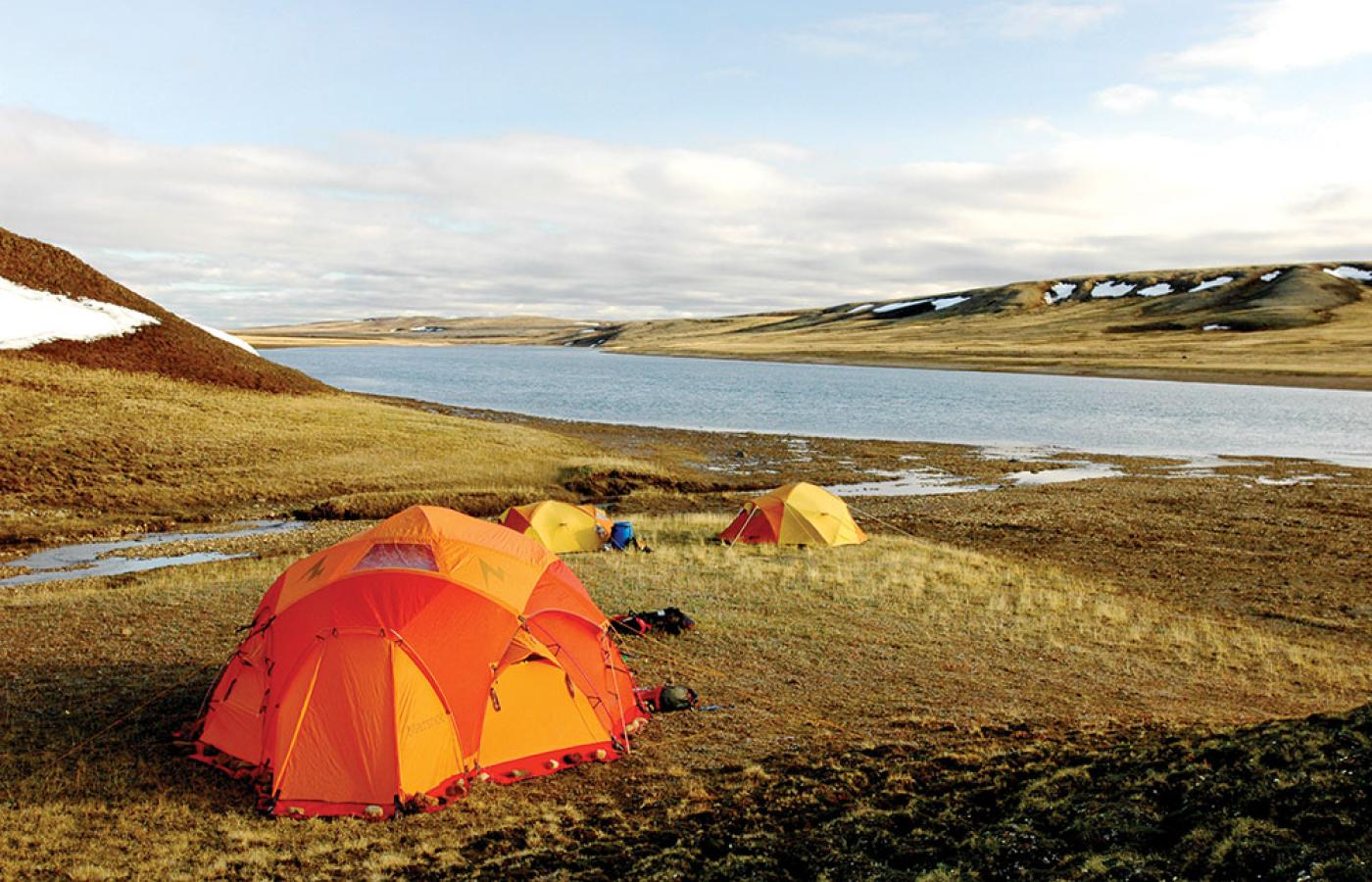 Tent camping in Aulavik National Park on Banks Island in Canada's Northwest Territories