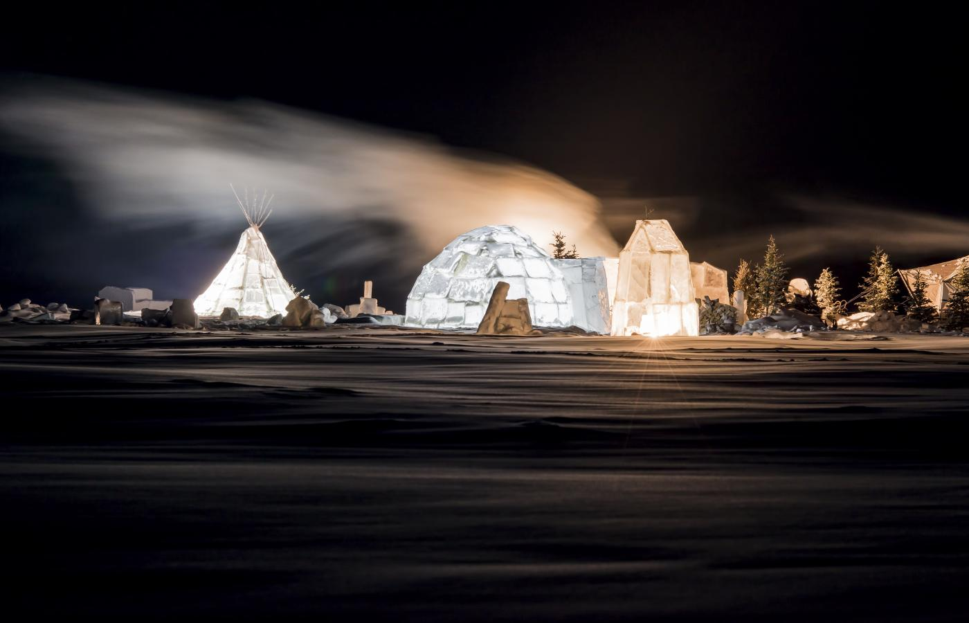 ice village all lit up