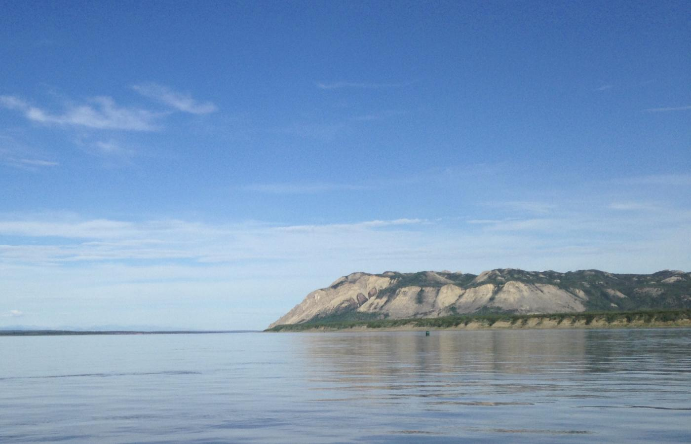 Bear Rock, at the confluence of the Bear and Mackenzie rivers, near Tulita, NWT, in the Sahtu region.