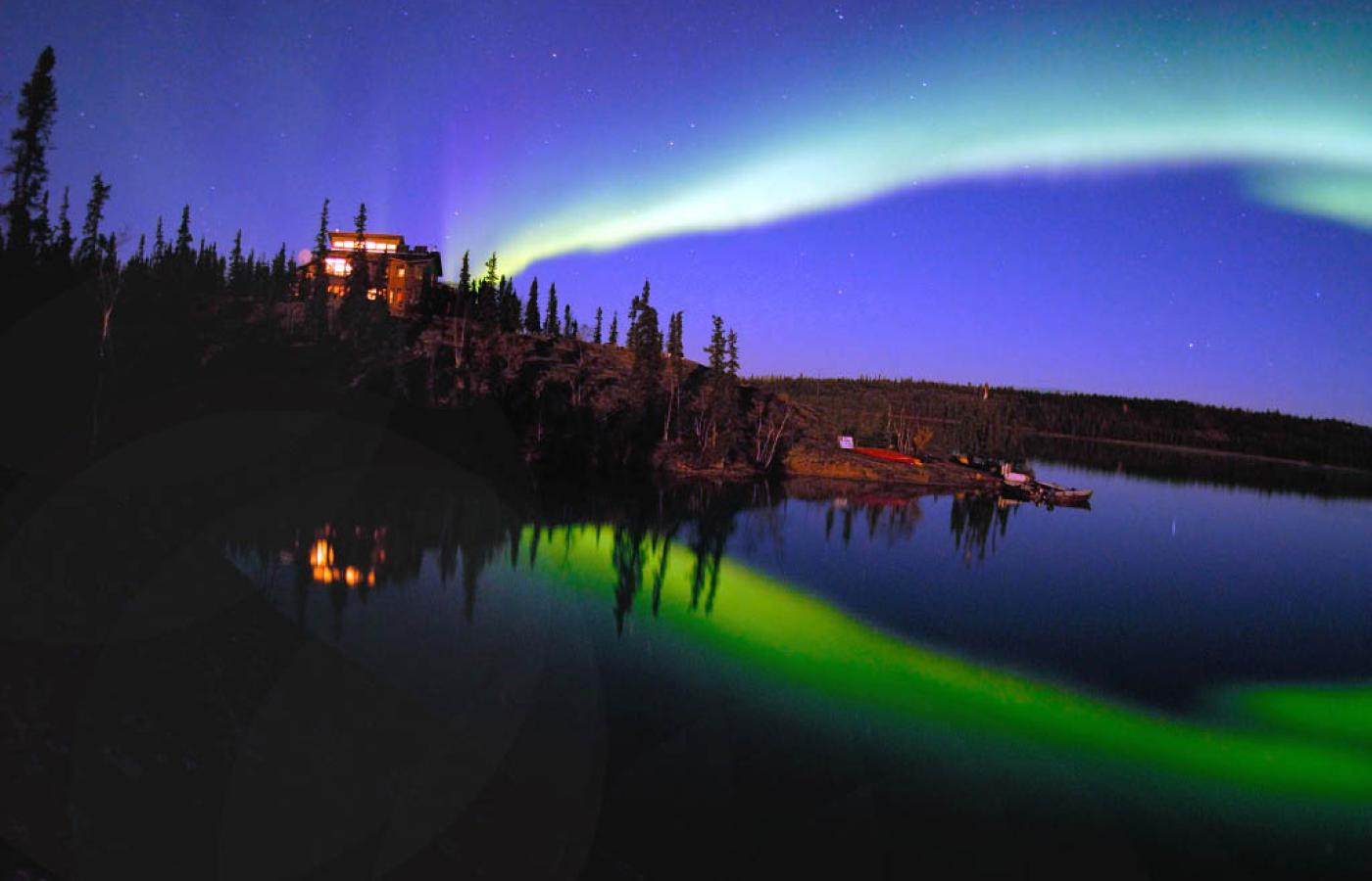 The Northern Lights on display over Blachford Lake Lodge in the Northwest Territories.