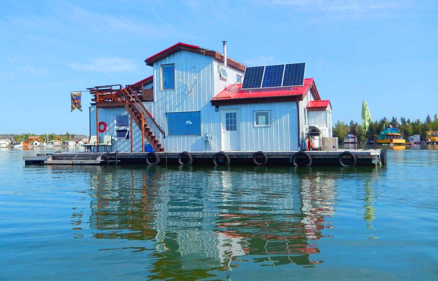 A floating bed and breakfast on Yellowknife Bay on Great Slave Lake in Canada's Northwest Territories