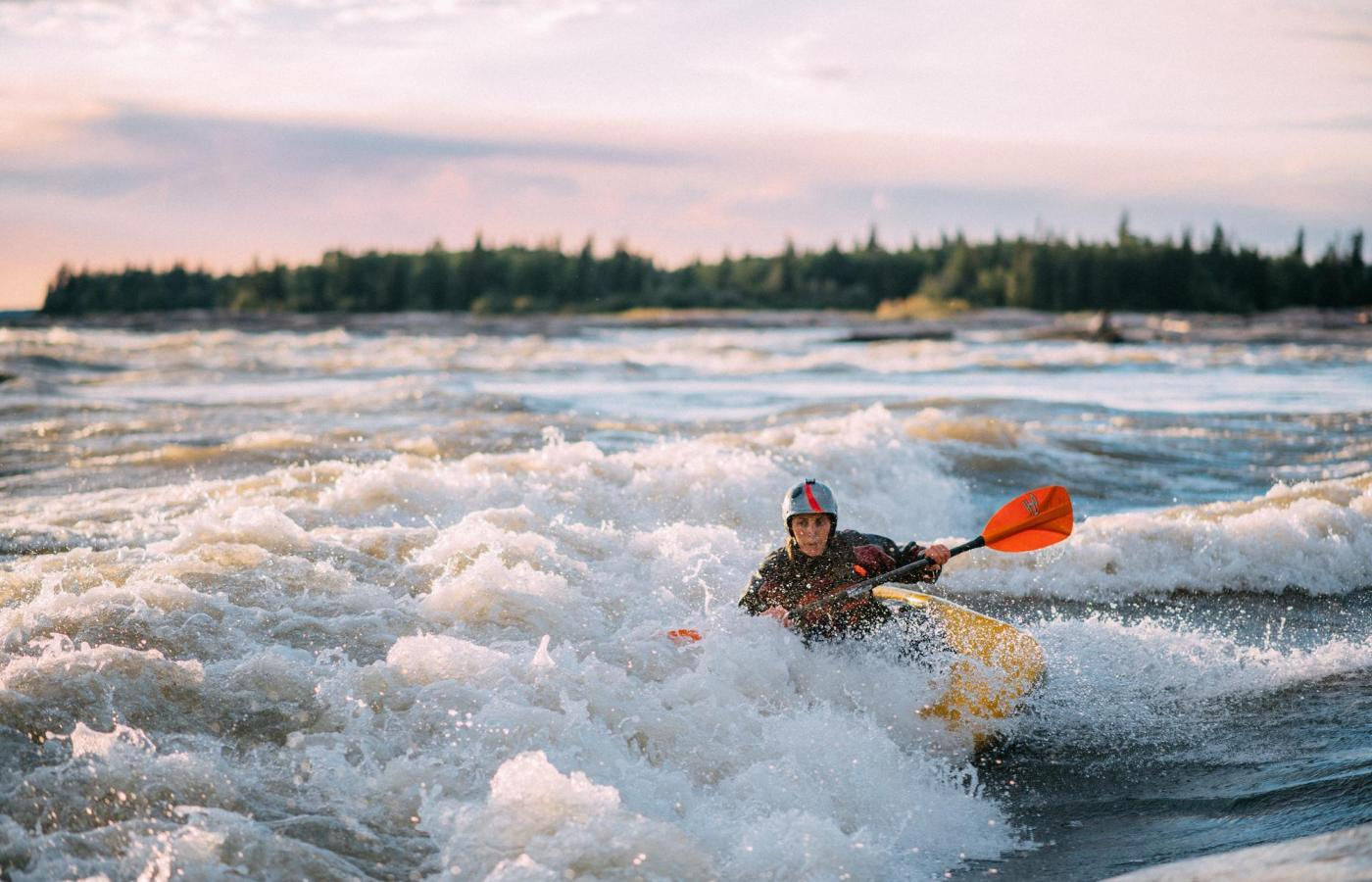 kayaking the rapids in the slave river