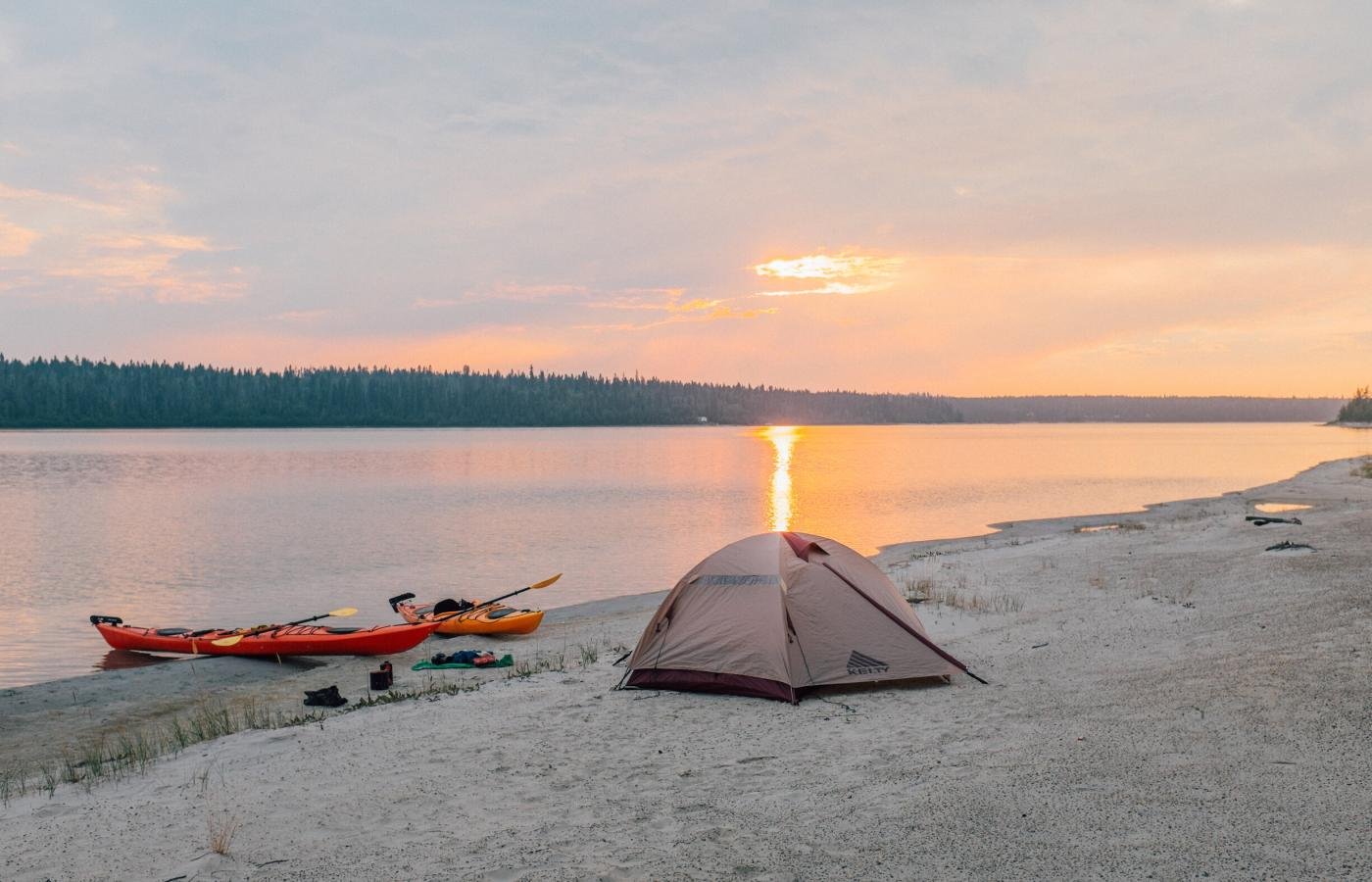 Camping on the shore of a pristine lake in Canada's Northwest Territories