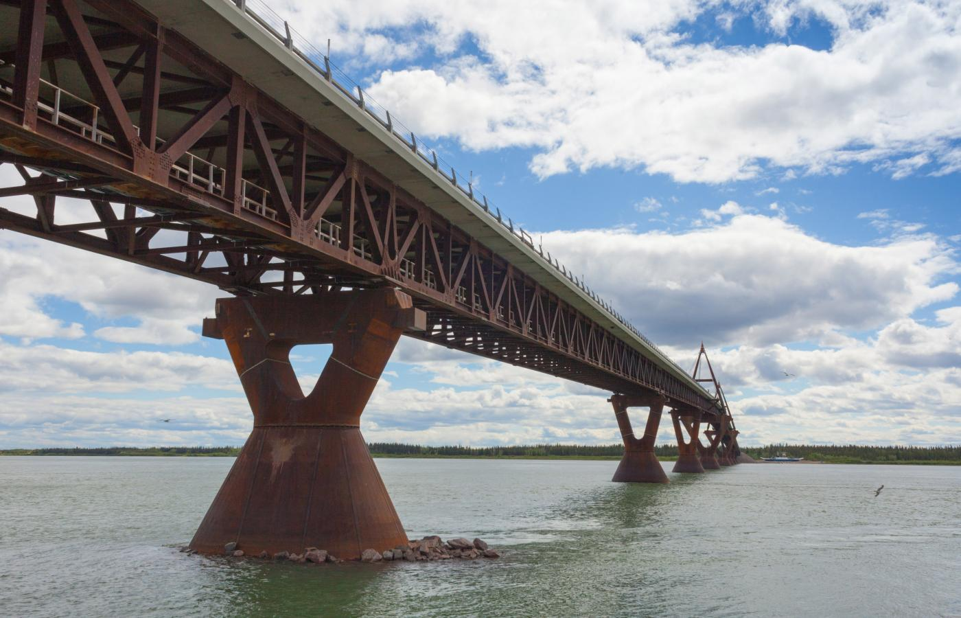 The Deh Cho bridge across the Mackenzie River near Fort Providence, NWT
