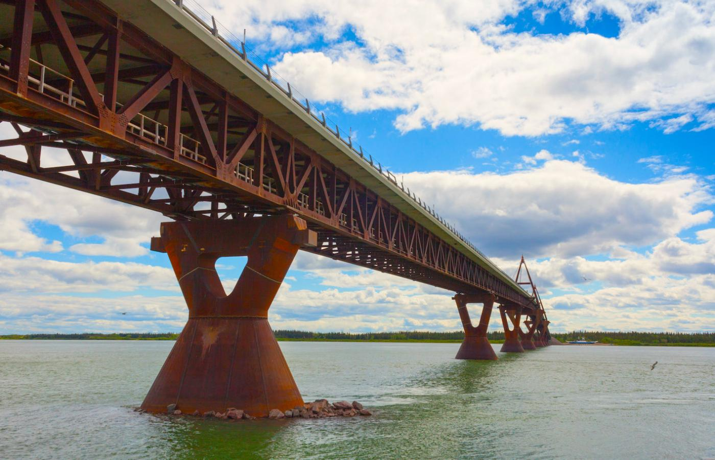 The Deh Cho Bridge which links the Northwest Territories to southern Canada