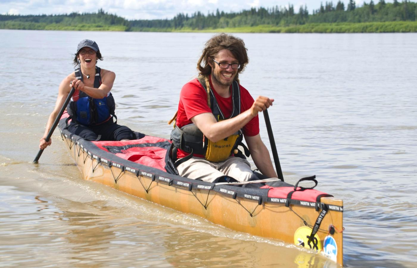 paddlers in a canoe on Great Slave Lake